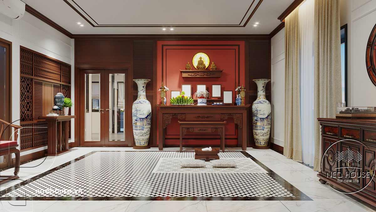 Nội thất nhà biệt thự đẹp 180m2 phong cách Indochine. Ảnh 12
