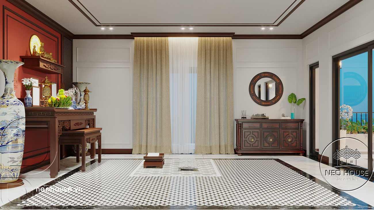 Nội thất nhà biệt thự đẹp 180m2 phong cách Indochine. Ảnh 13