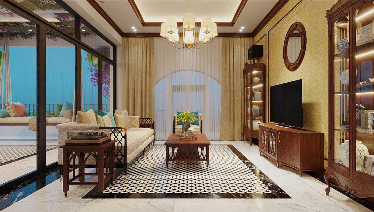Nội thất nhà biệt thự đẹp 180m2 phong cách Indochine. Ảnh 2