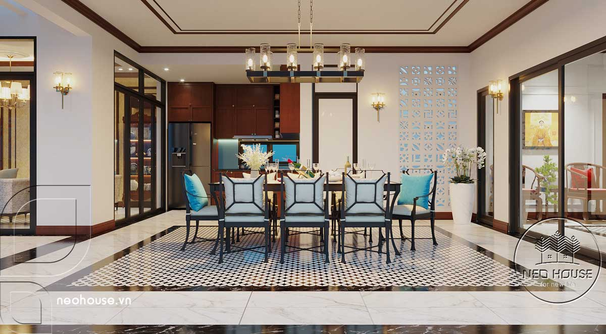 Nội thất nhà biệt thự đẹp 180m2 phong cách Indochine. Ảnh 4