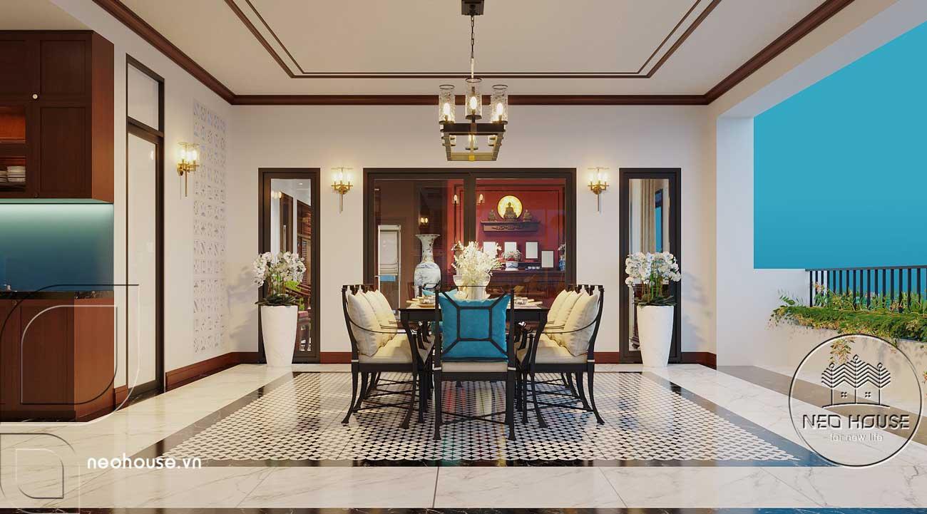 Nội thất nhà biệt thự đẹp 180m2 phong cách Indochine. Ảnh 5