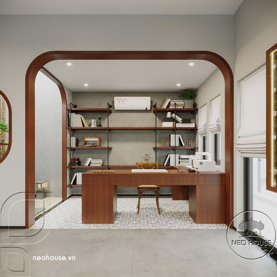 Nội thất nhà biệt thự đẹp 180m2 phong cách Indochine. Ảnh 7