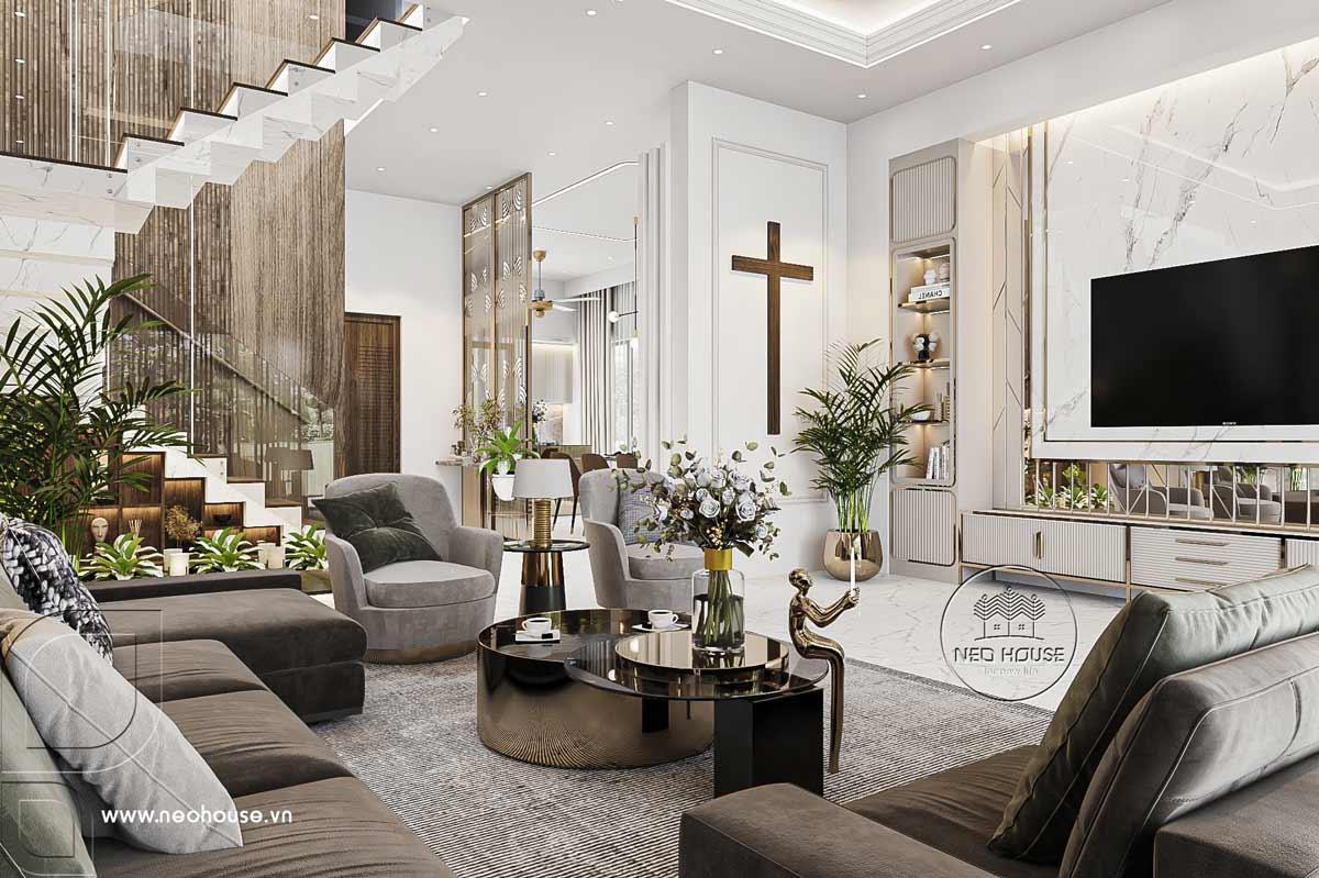 Thiết kế nội thất nhà biệt thự hiện đại 3 tầng. Ảnh 2
