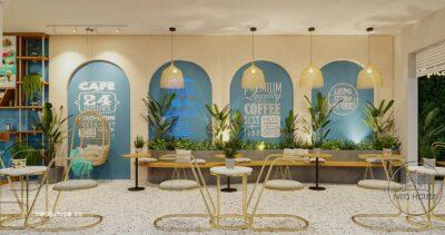 """Thiết Kế Quán Cafe Phong Cách Tropical """"THE CAFFEIN"""" 4x16m Tại Tân Phú – NTC08"""